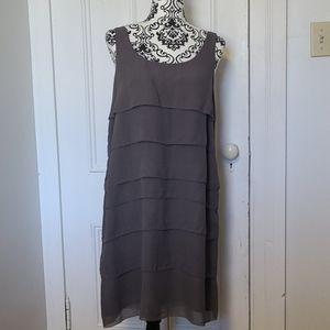Eileen Fisher pure silk tiered ruffle sheath dress